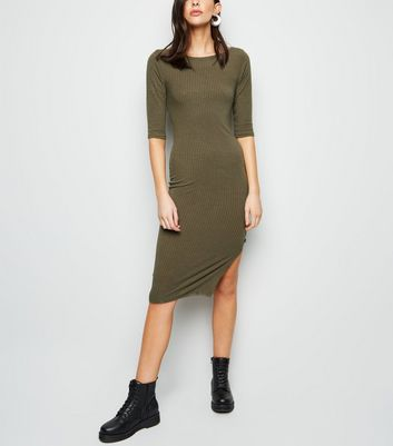 Khaki Side Split Jersey Midi Dress