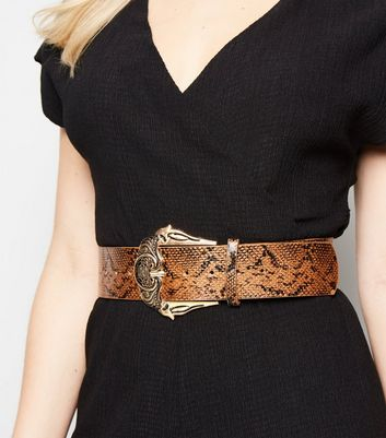 Brown Faux Snake Western Waist Belt