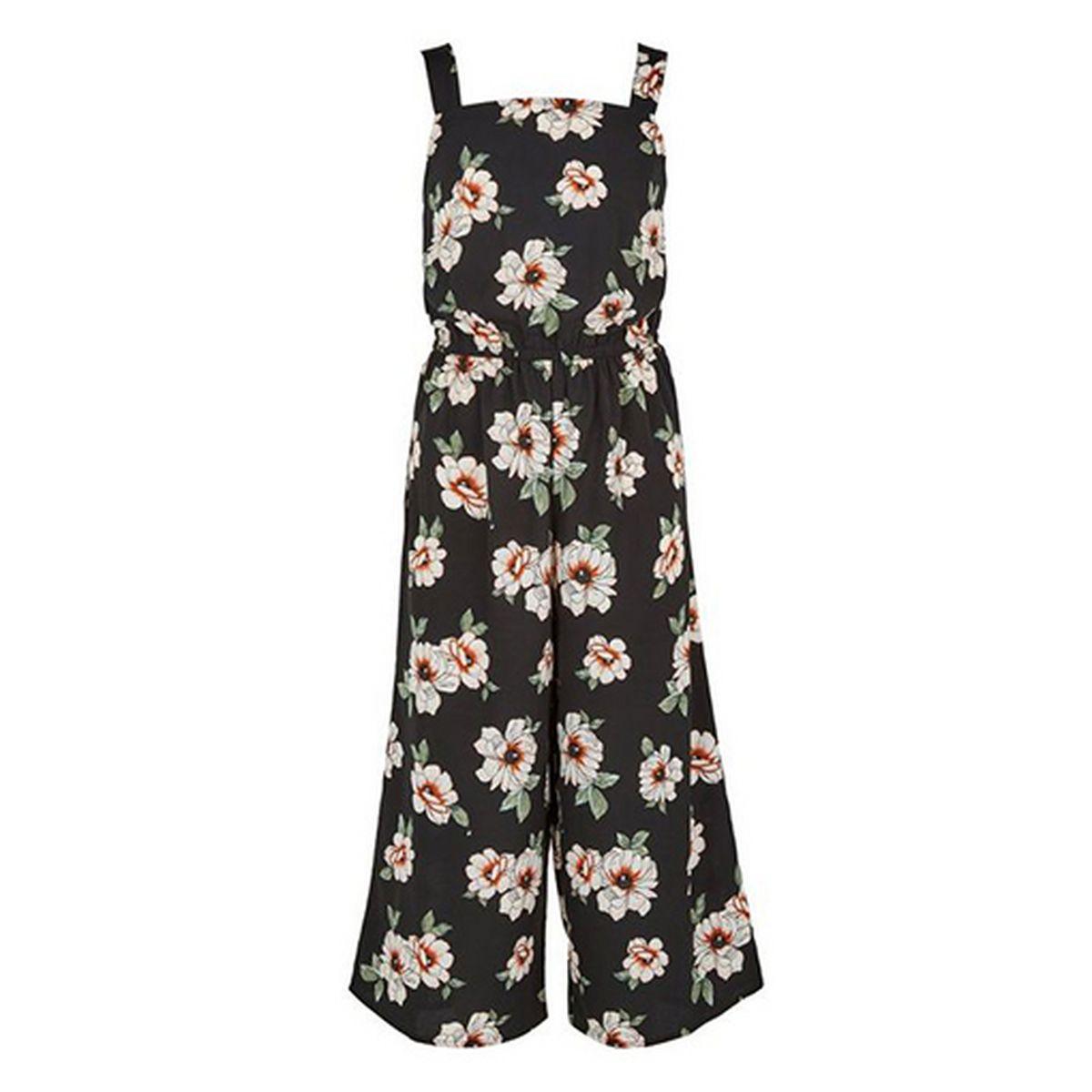 99fe98ce0ce5 Black Floral Square Neck Jumpsuit