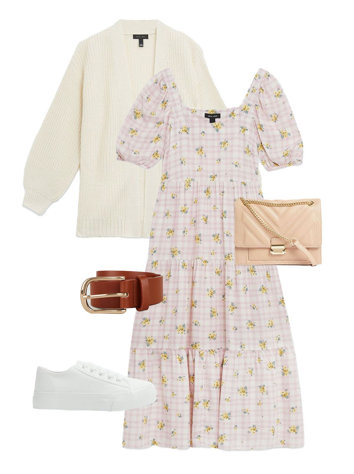Women's Pink Check Floral Square Neck Tiered Midi Dress, Women's Off White Chunky Knit Puff Sleeve Cardigan, Women's Pale Pink Chevron Leather-Look Cross Body Bag, Women's Tan Leather-Look Hip Belt, Women's White Canvas Lace Up Chunky Trainers