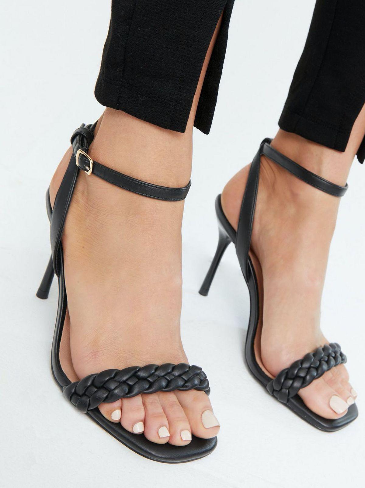 Women's wide fit black strap stiletto heel sandals