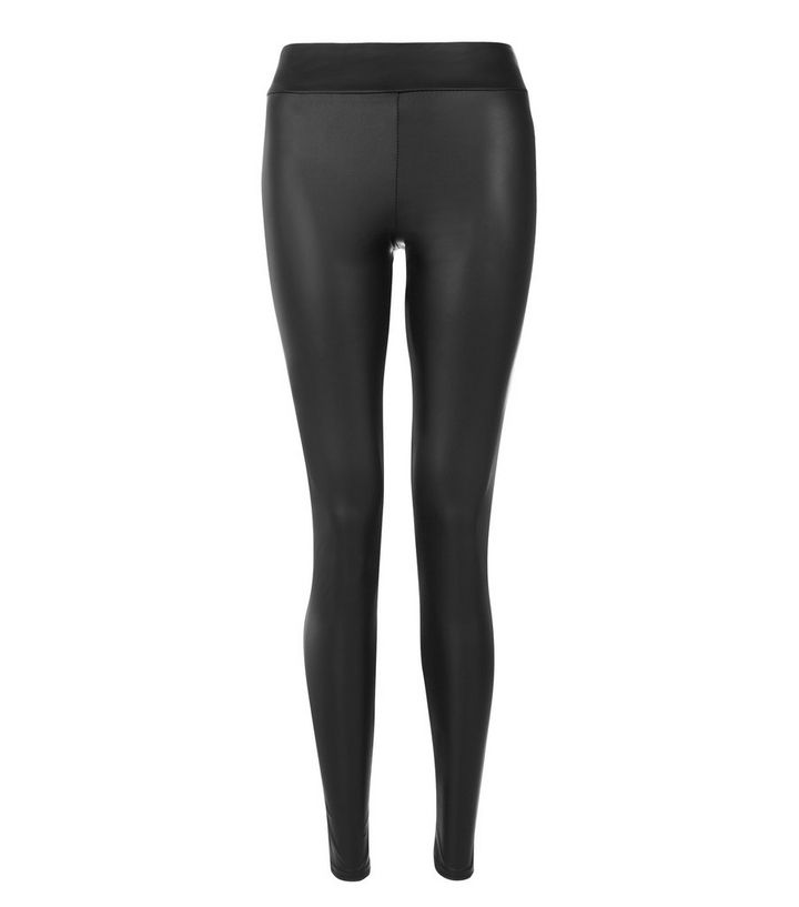 2b7d52dfe2532 Black Leather-Look High Waist Leggings | New Look