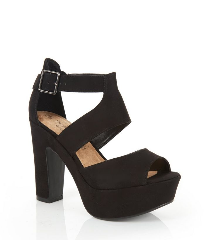 a3bdcc2623 Wide Fit Black Chunky Strappy Heels   New Look