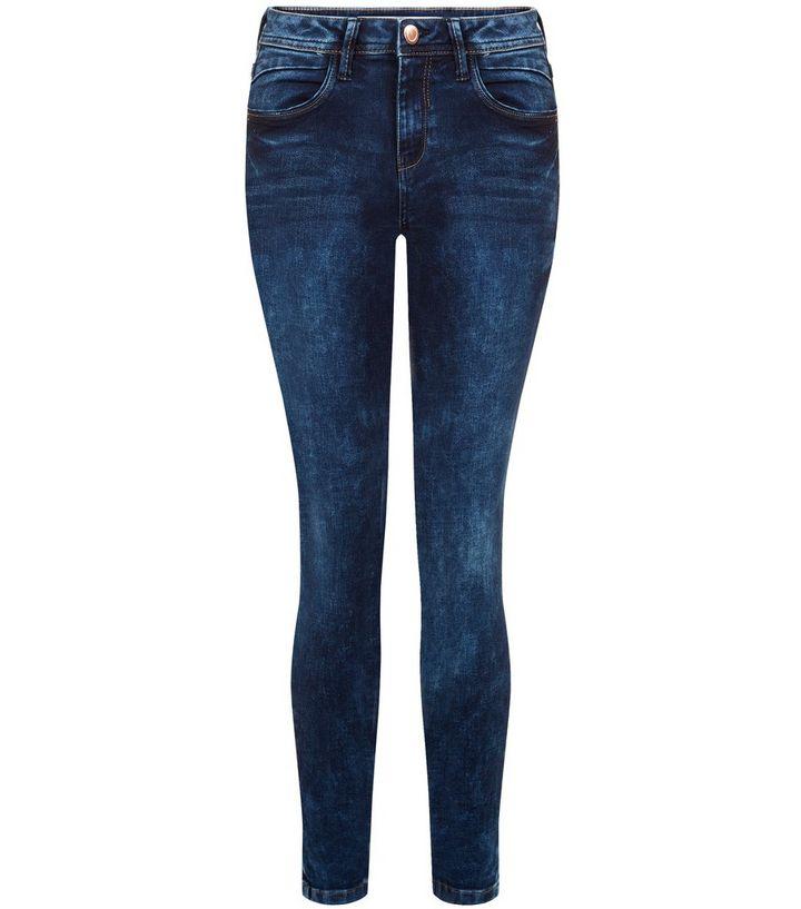 d334b038d8 Dark Blue Mottled Denim Super Skinny Jeans | New Look