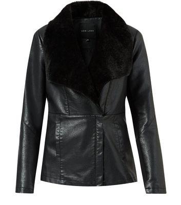 Black Leather Look Faux Fur Waterfall Jacket New Look