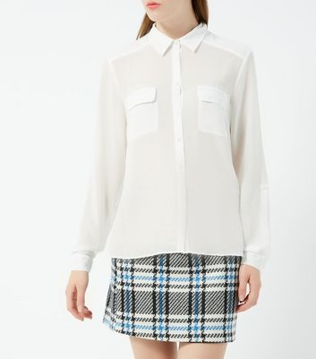 Cream Long Sleeve Chiffon Shirt New Look