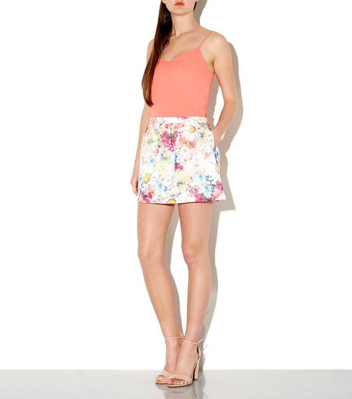 cff479f51 White Floral Print Pleated Scuba Mini Skirt | New Look