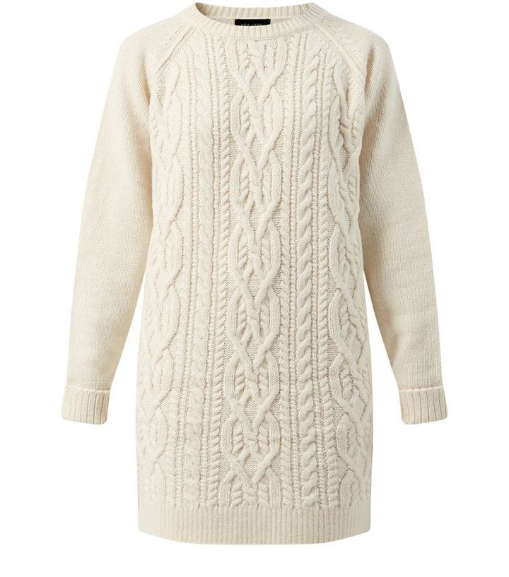 9a90f042199d Cream Cable Knit Jumper Dress