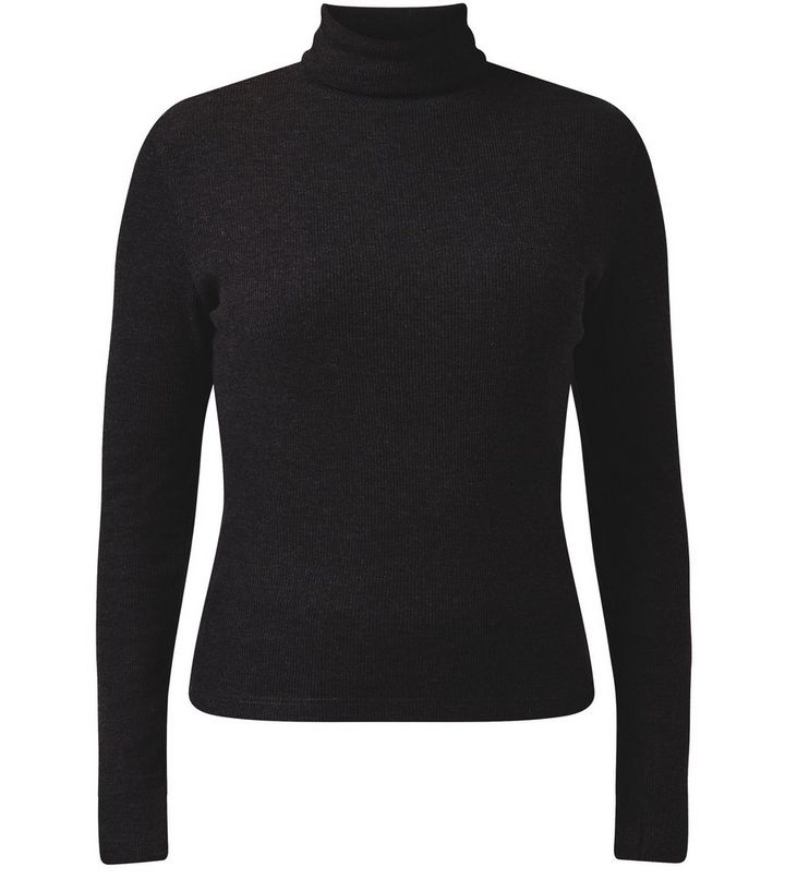 7ec2dd4ffafe Black High Neck Long Sleeve Top