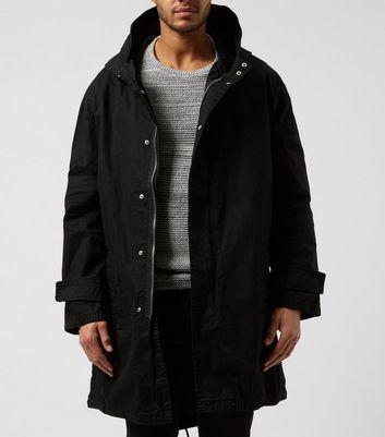 shop for Men's Black Oversized Parka Jacket New Look at Shopo