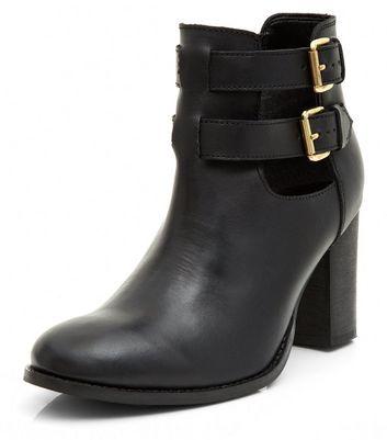 new look black block heel ankle boots