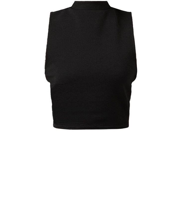 2fe6c00ecf158 Black Ribbed High Neck Crop Top
