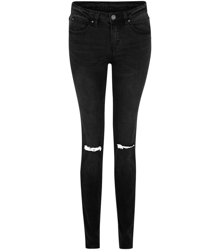 7ab6be2477 Black Knee Ripped Skinny Jeans | New Look