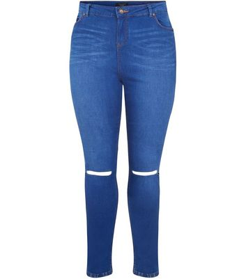 Plus Size Blue Authentic Ripped Knee Skinny Jeans Add to Saved Items Remove from Saved Items