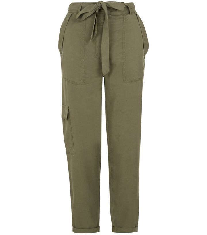 professional sale the sale of shoes amazon Khaki Soft Tie Waist Utility Trousers | New Look