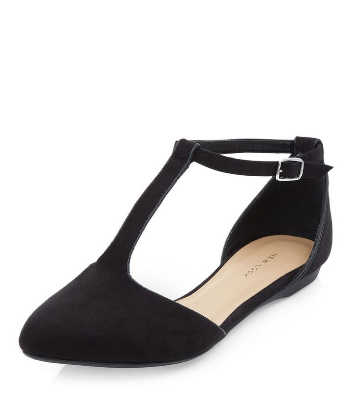 45dfb76999d Black Suedette T-Bar Strap Pointed Pumps Add to Saved Items Remove from  Saved Items