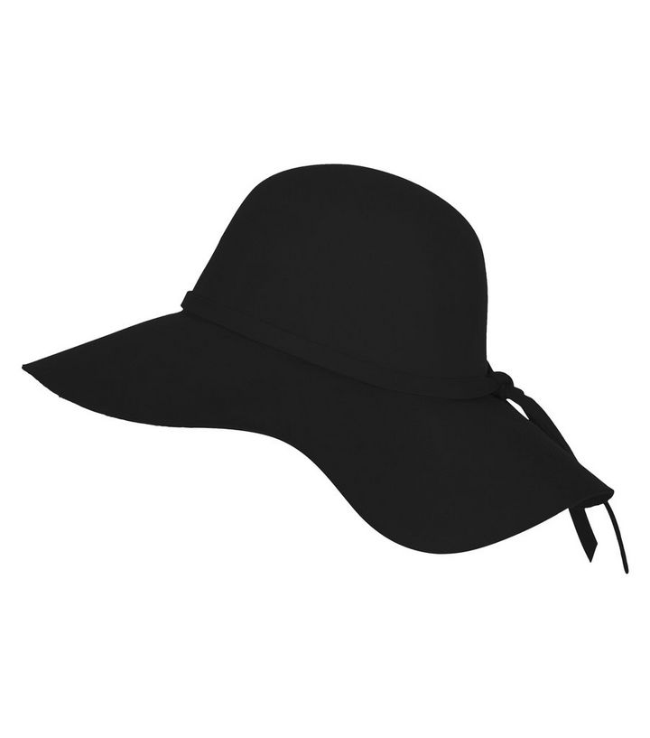 Black Wool Floppy Hat  14347350c34