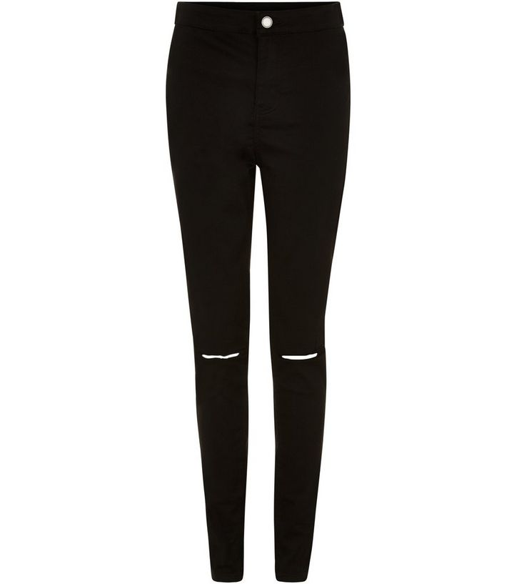 37226abdfbd Black Ripped Knee High Waist Super Skinny Jeans
