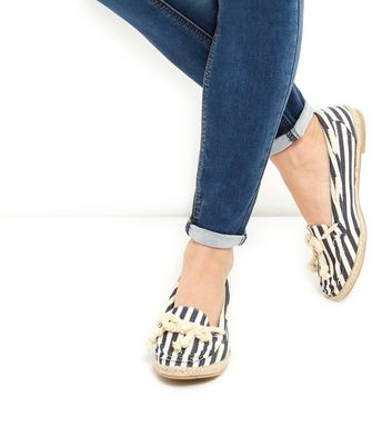 Wide Fit Blue Stripe Boat Shoes | New Look