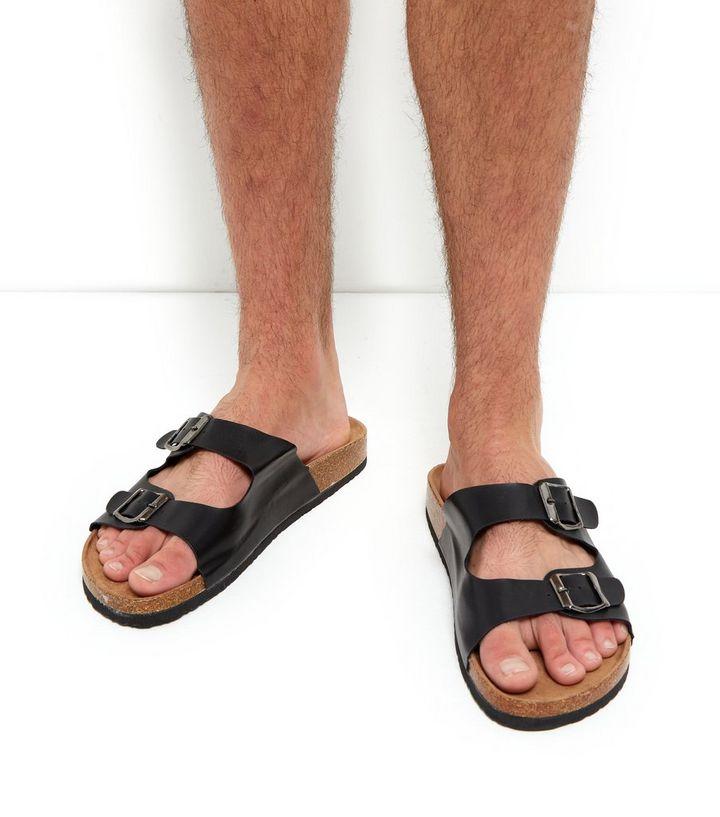 06155dbf1f33 Black Double Buckle Sandals
