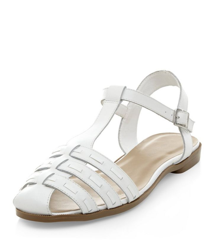 2b0d8799ac70 Wide Fit White Leather Woven T-Bar Sandals