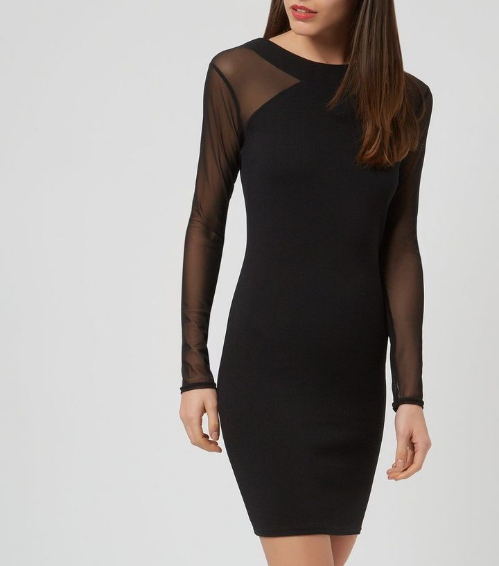 Studio 21 Black Mesh Long Sleeve Bodycon Dress Add to Saved Items Remove  from Saved Items