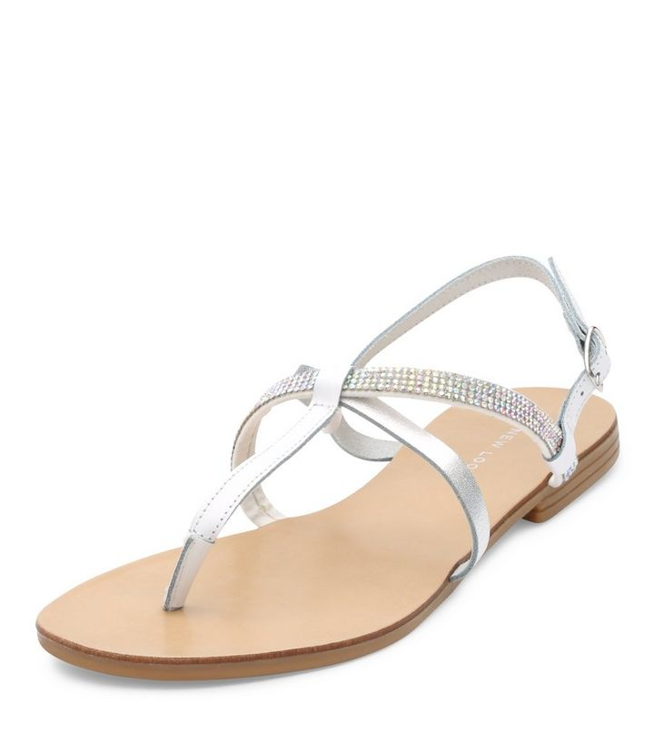 b6bd1f4d01b9e White Leather Embellished Cross Strap Sandals