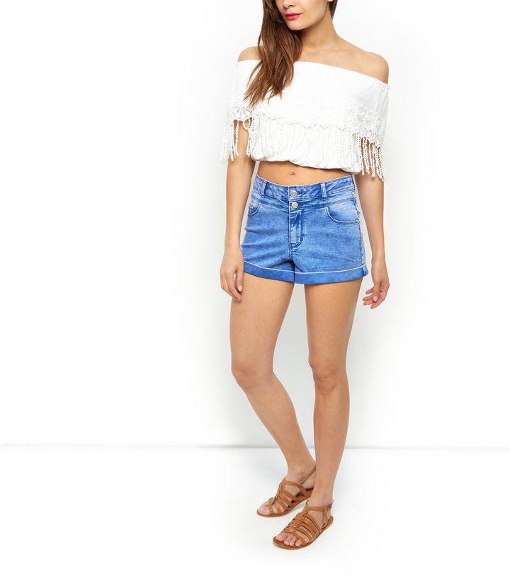 6bdba6725f ... Women's Tops · White Embroidered Tassel Trim Bardot Neck Crop Top. ×.  ×. ×. Shop the look