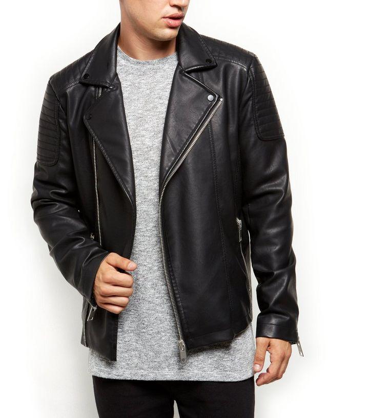 Black Leather Look Asymmetric Biker Jacket New Look