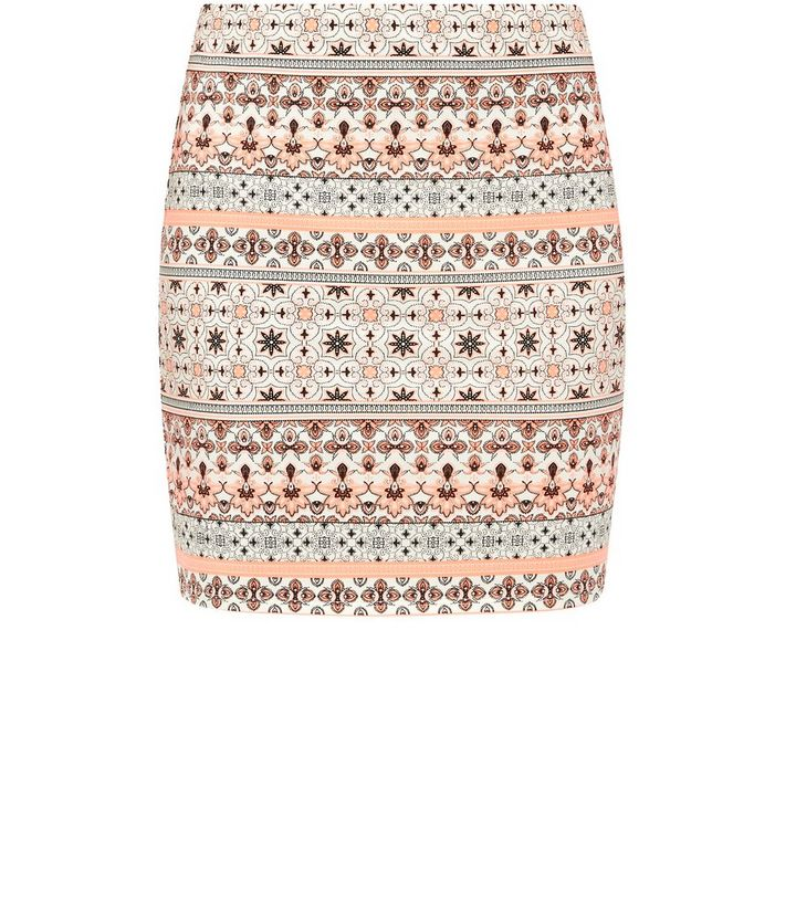 6146bfb0a White and Neon Orange Tile Print Tube Skirt | New Look