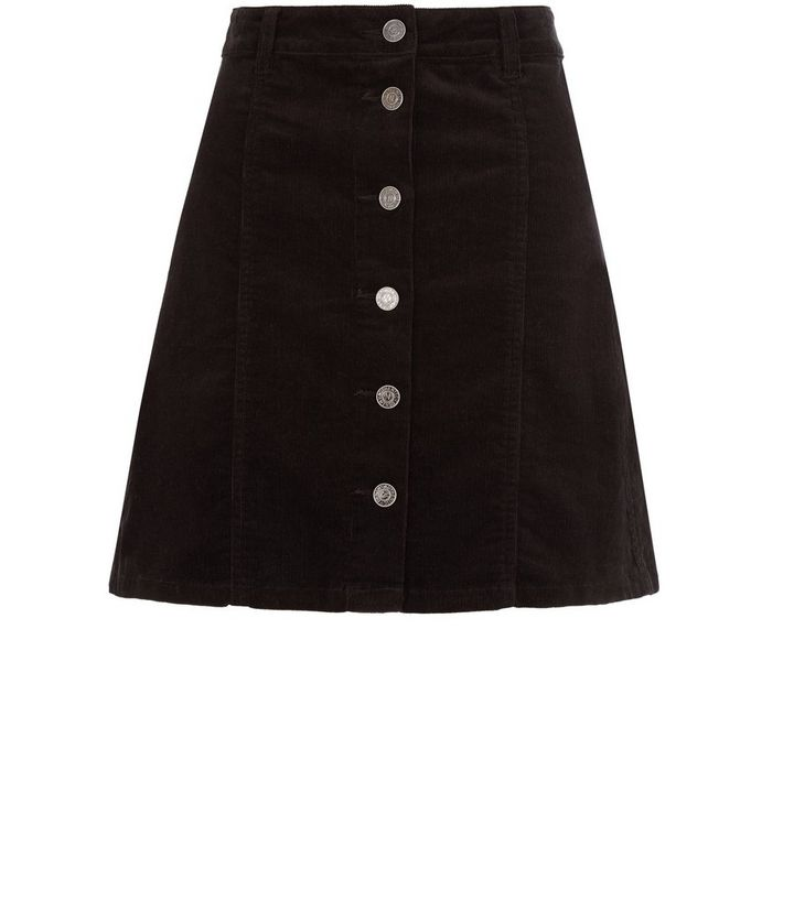 c2c68996450f Black Corduroy Button Front A-Line Skirt | New Look