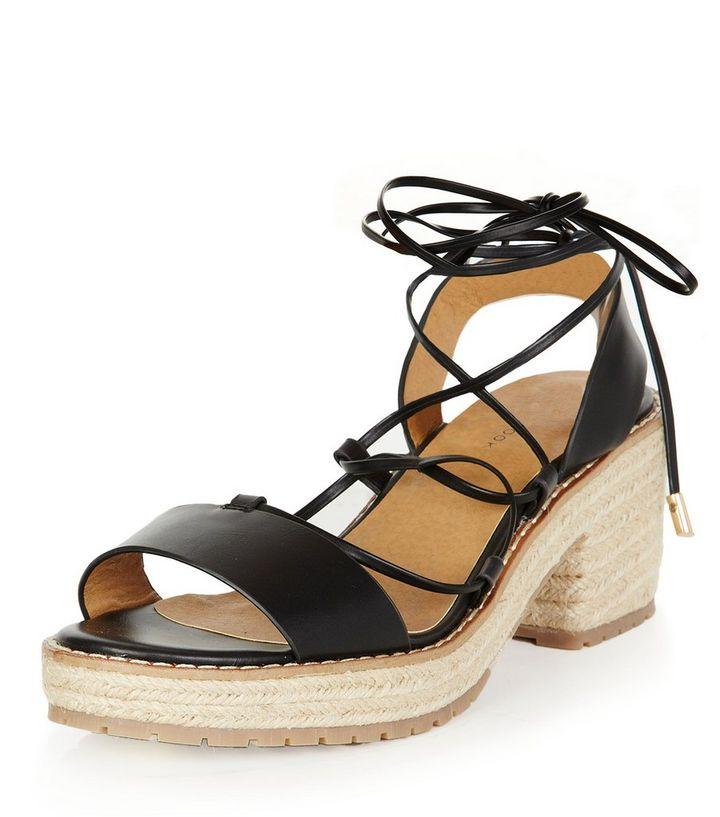 0c8f7111dfd Black Lace Up Espadrille Sandals