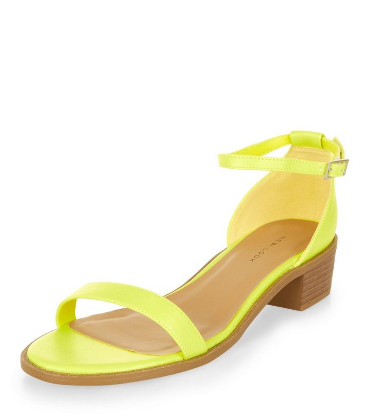 87394f4e5a59bc Lime Green Ankle Strap Low Block Heel Sandals