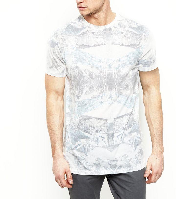 3792808b White Tribal Print Longline T-Shirt | New Look