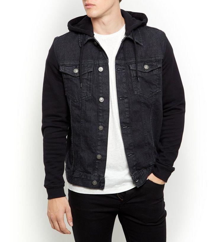 f6490f0a43e6 Black Jersey Sleeve Hooded Denim Jacket