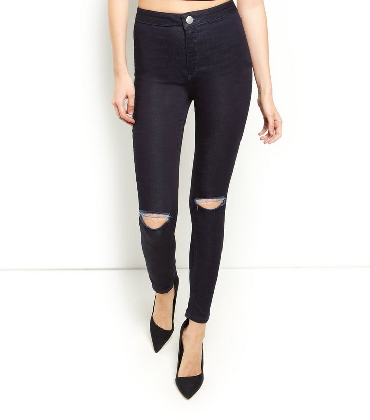 47c2ea253d2 ... Tall 36in Dark Blue Ripped Knee Disco Skinny Jeans. ×. ×. ×. Shop the  look