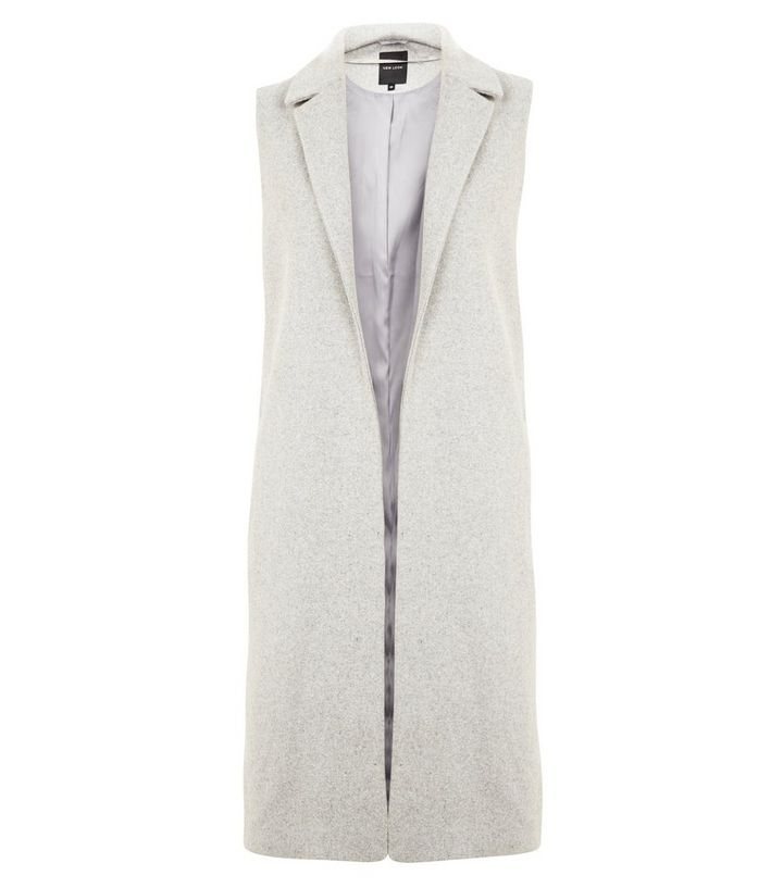 e243d0a939ecc6 Grey Longline Sleeveless Coat