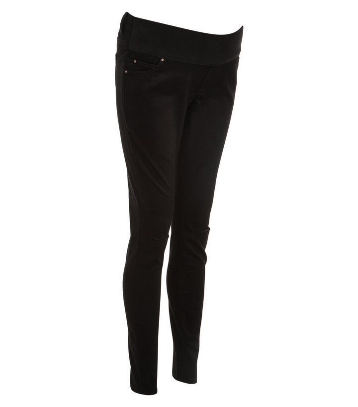 1b7ab5c14af6a Maternity Black Under Bump Ripped Knee Skinny Jeans | New Look