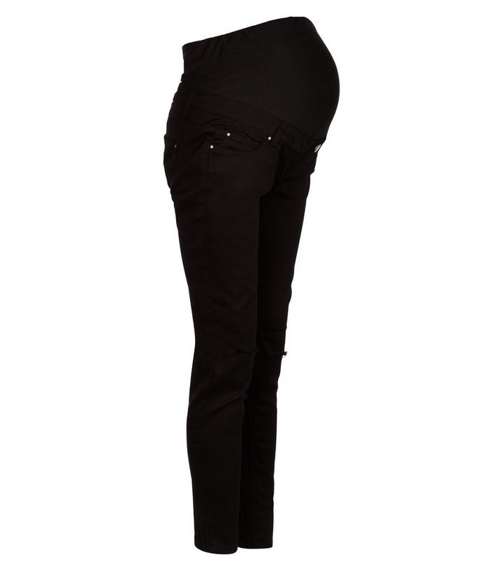 2a7cde3761319 Maternity Black Over Bump Ripped Skinny Jeans | New Look