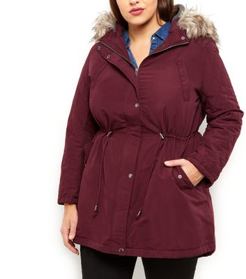 Plus Size Burgundy Faux Fur Hooded Parka New Look