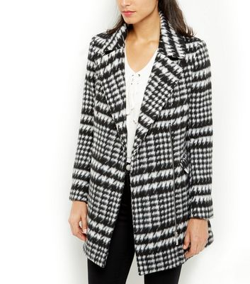 Black Houndstooth Coat New Look