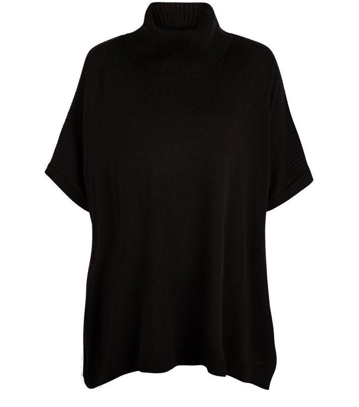 Black Roll Neck Short Sleeve Jumper  3026a35f5