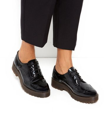 Black Patent Chunky Lace Up Brogues