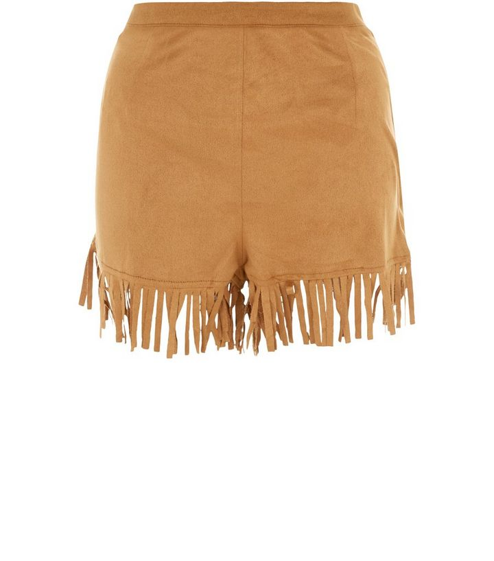 7e80c097851 Tan Suedette Fringe Hem Shorts | New Look