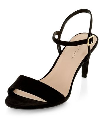 Black Ankle Strap Mid Heels   New Look