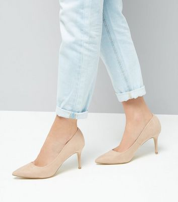 Cream Suedette Mid Heel Pointed Court Shoes New Look