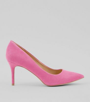 Bright Pink Suedette Mid Heel Pointed Court Shoes New Look
