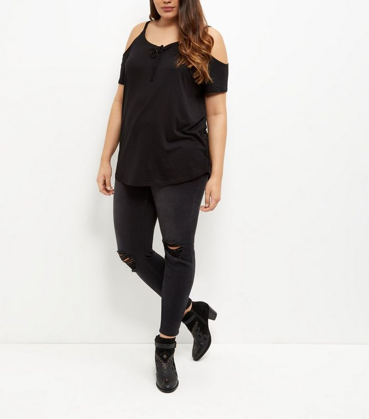 b7f6c732fafbe ... Women s Tops · Plus Size Black Lace Up Cold Shoulder Top. ×. ×. ×. Shop  the look