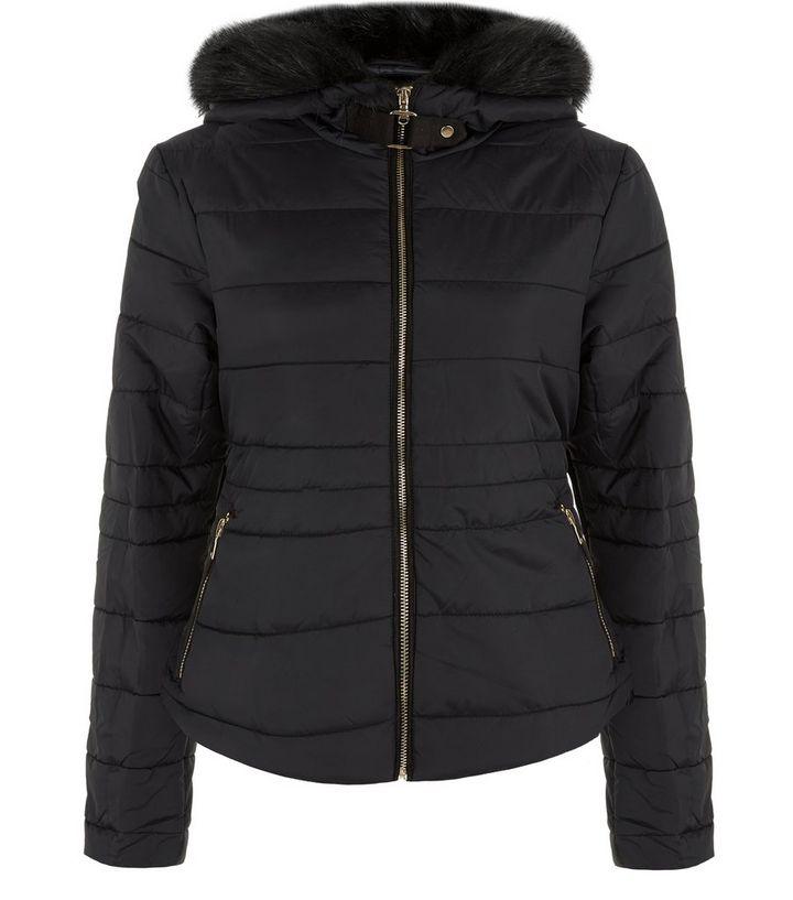 220aac0c47f Black Faux Fur Trim Padded Jacket