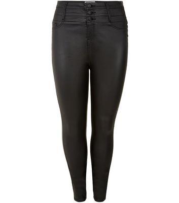 Plus Size Black Coated High Waisted Skinny Jeans Für später speichern Von gespeicherten Artikeln entfernen